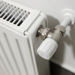 Adjusting knob on a white radiator in a DMV Metro area home.