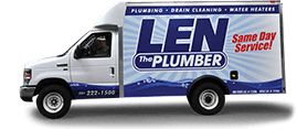 Len the Plumber of Northern VA commercial truck on transparent background.