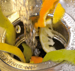 citrus peels going down a garbage disposal with running water