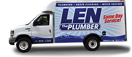 Len the Plumber commercial truck on transparent background.