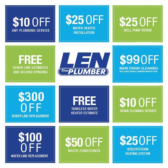 Plumbing Coupons Amp Discounts Len The Plumber Coupons