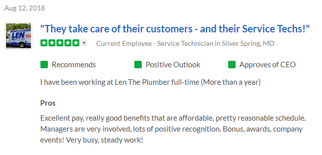 5-star review for Len The Plumber on Glassdoor from a Service Technician in Silver Spring, MD.