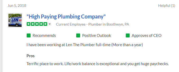 Snapshot of a positive 5-star review on Glassdoor from a Boothwyn, PA plumber at Len the Plumber.