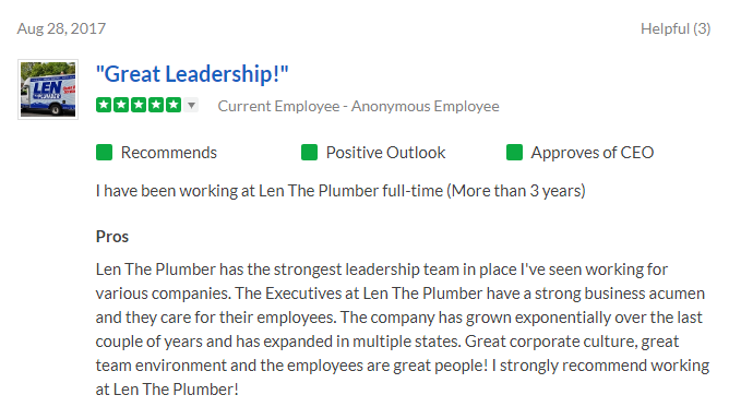 Snapshot of a positive 5-star review on Glassdoor from an employee at Len the Plumber.
