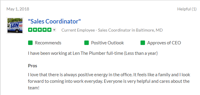 Snapshot of a positive 5-star review on Glassdoor from a sales coordinator at Len the Plumber.