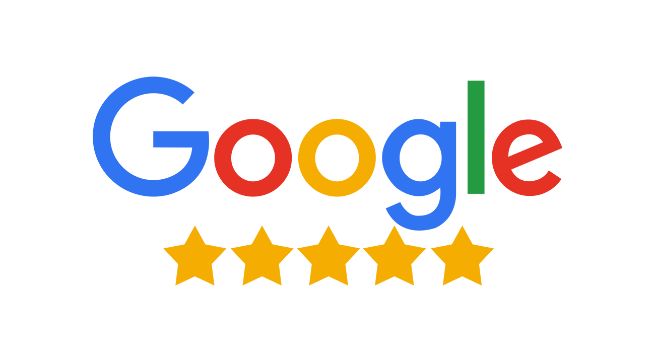 Google logo and 5 stars graphic on transparent background.
