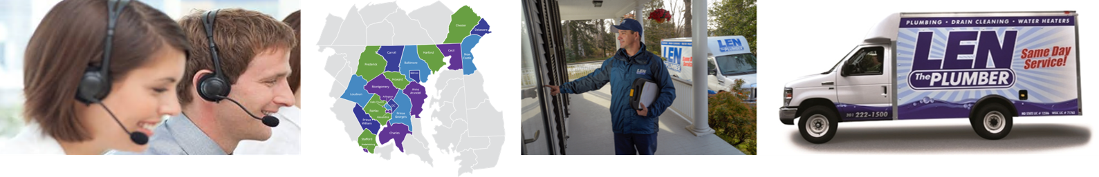 Collage of images. From left to right: sales representatives smiling and speaking on the phone, a map of Len The Plumber's service area, a Len The Plumber technician ringing a doorbell, and a Len The Plumber truck on a white background.
